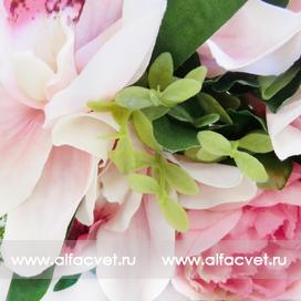 букет пионов с орхидеями цвета розовый с белым 14