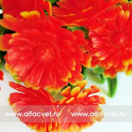 букет пластиковый хризантемы цвета красный 4