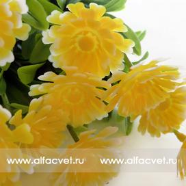 букет пластиковый хризантемы цвета желтый 1