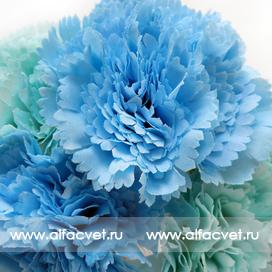 букет гвоздик цвета синий, голубой, белый 48