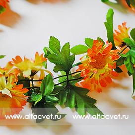 цепь лиана с ромашками цвета желтый с оранжевым 17