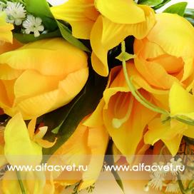 тюльпаны-лилии цвета желтый 1